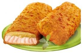 Obaľované losos porcie (s horčicovou omáčkou),  100g