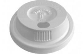 Plastové viečko biele vypuklé s otvorom pre pitie z boku pre objem 0,2l (PS) (100ks)
